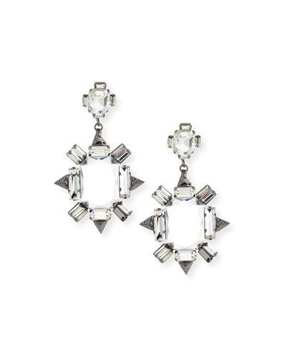 Crystal Chandelier Earrings, Gunmetal