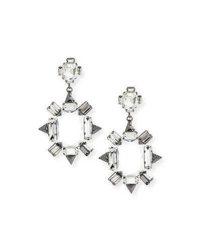 Crystal Chandelier Earrings, Gunmetal