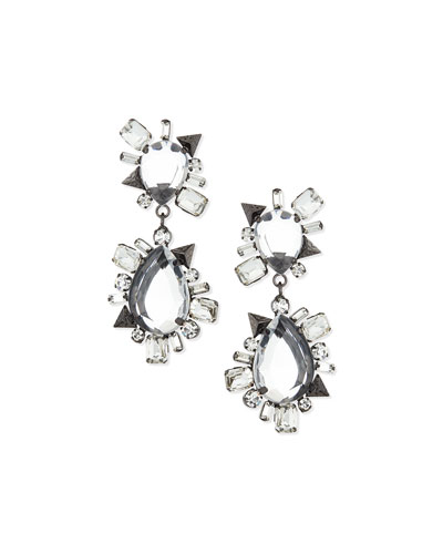 Crystal Statement Earrings, Gunmetal