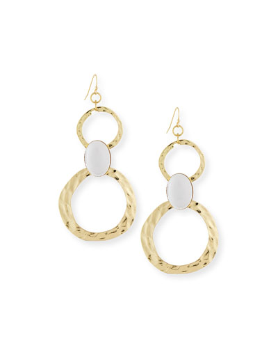 Cabochon Circle Link Drop Earrings