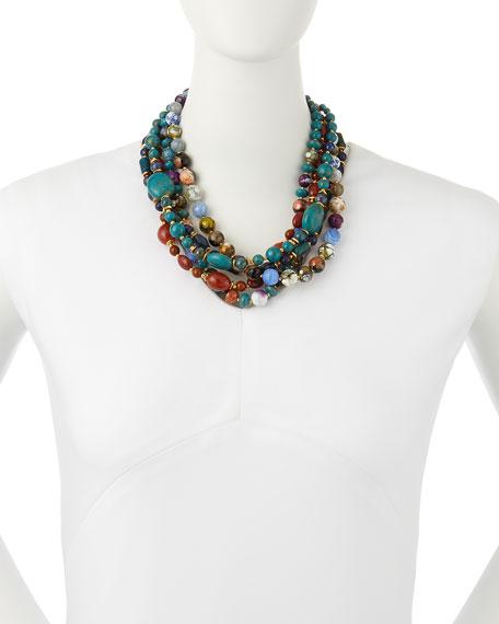 Chunky Multi-Stone Necklace, Blue