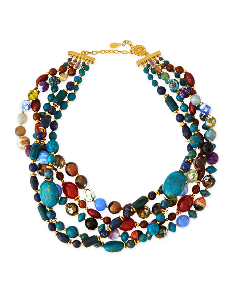 Jose & Maria Barrera Chunky Multi-Stone Necklace, Blue