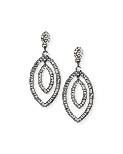 Pave Crystal Petal Drop Earrings