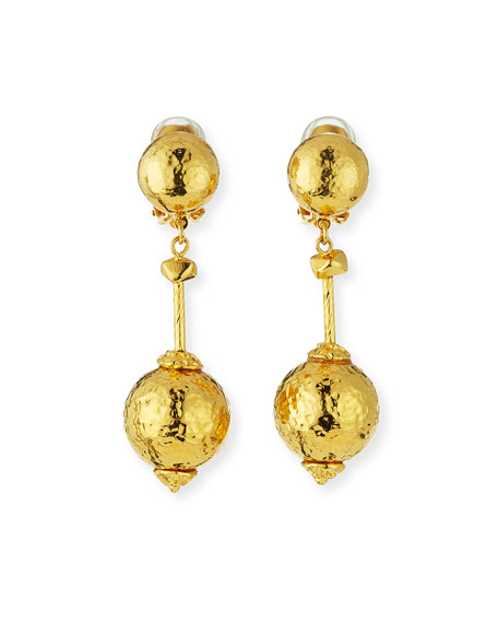 Jose & Maria Barrera Hammered Ball-Drop Clip-On Earrings
