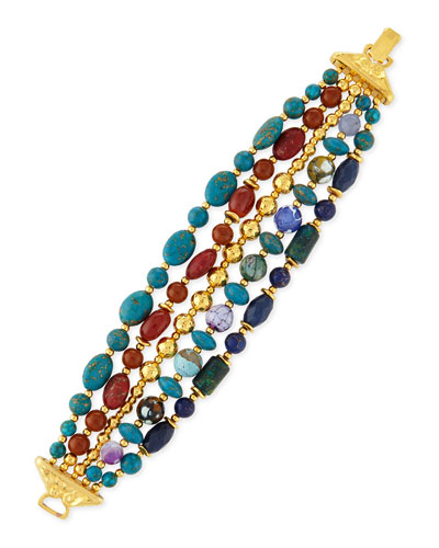 Five-Strand Mixed-Bead Bracelet, Blue