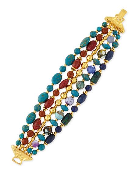 Jose & Maria Barrera Five-Strand Mixed-Bead Bracelet, Blue