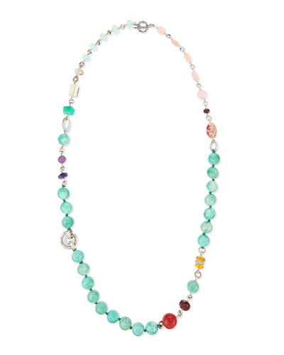 "Mixed-Stone Long Beaded Necklace, 40""L"