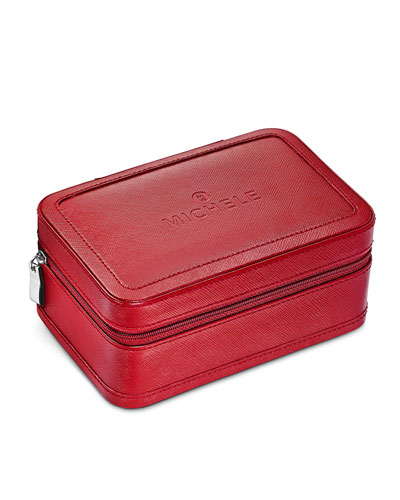 Red Saffiano Leather Travel Case for Watches