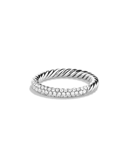 Petite Pave Ring with Diamonds, Size 7
