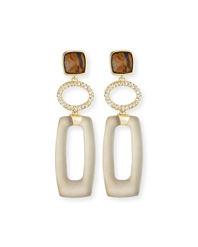 Tiger's Eye Lucite Link Drop Earrings