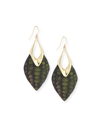 Crocodile Textured Drop Earrings