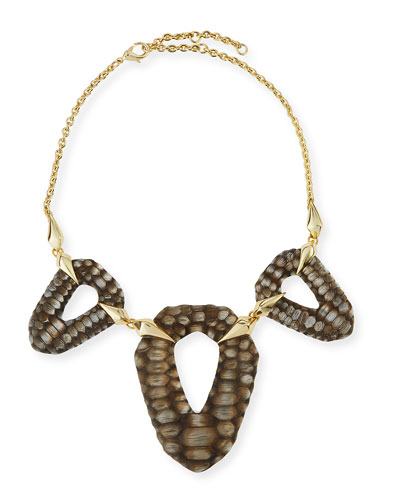 Crocodile-Textured Bib Necklace