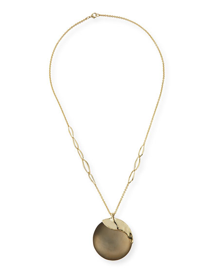 Alexis Bittar Liquid Metal Long Disk Pendant Necklace, 32
