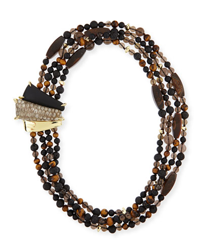 Tiger's Eye Multi-Strand Tressard Necklace