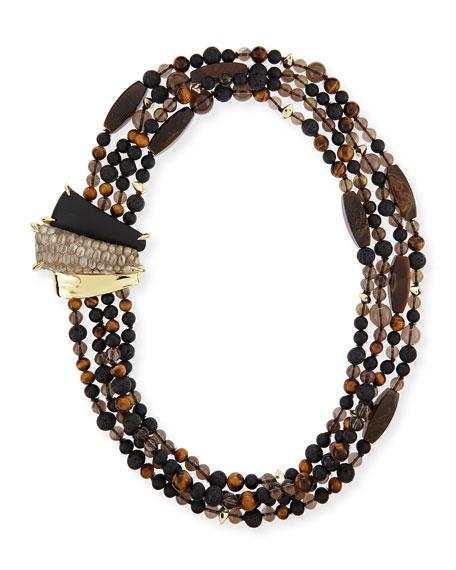 Alexis Bittar Tiger's Eye Multi-Strand Tressard Necklace