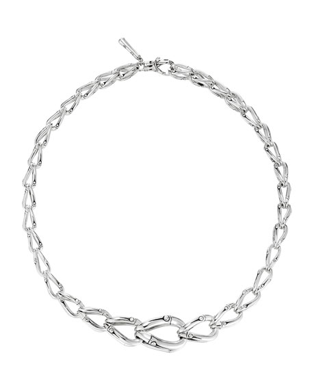 "Bamboo Graduated Silver Necklace, 17""L"