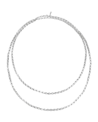 Bamboo Silver Sautoir Long Necklace, 65""