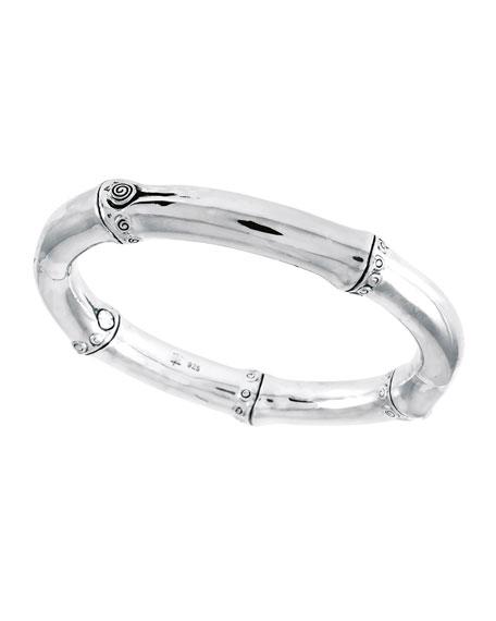 Bamboo Silver Hinge Bangle Bracelet