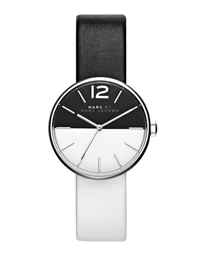 36mm Two-Tone Leather Strap Watch, Black/White