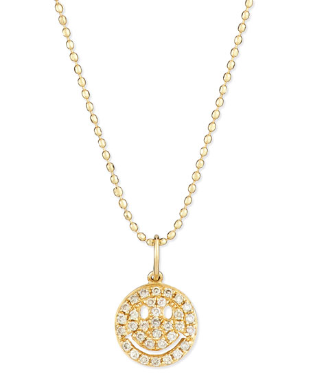 Sydney evan 14k gold diamond happy face pendant necklace neiman marcus 14k gold diamond happy face pendant necklace aloadofball Image collections