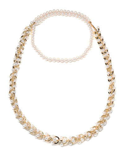 Orbiting Pearl Chain Long Necklace, 40""