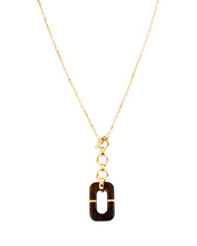 "Geometric Wood Link Pendant Necklace, 31"""