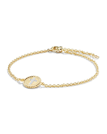 David Yurman Cross Bracelet with Diamonds 18k Gold