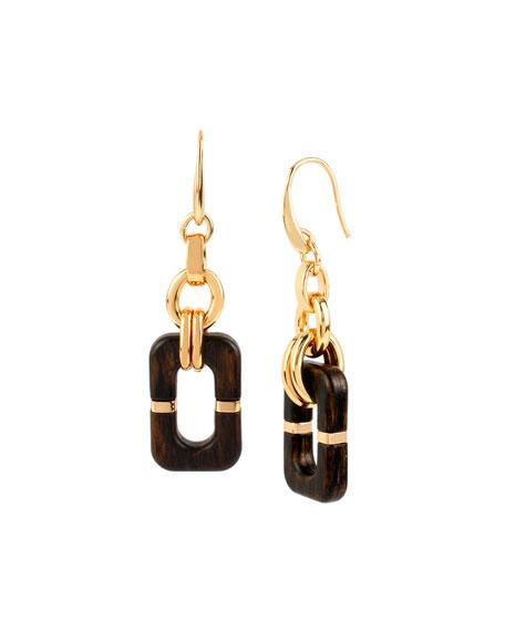 Diane von Furstenberg Geometric Wood Link Drop Earrings