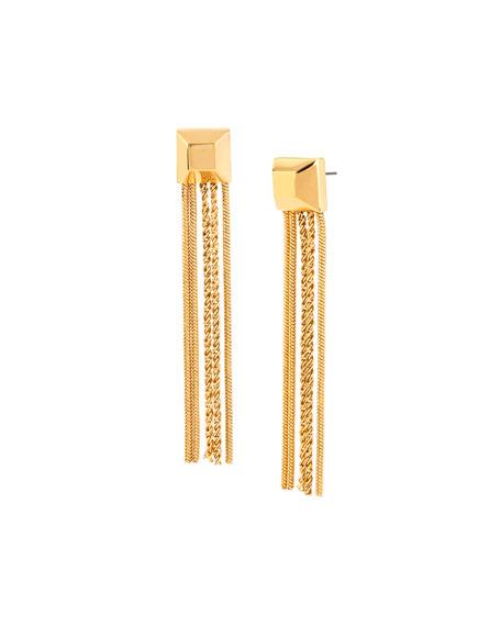 Cube Chain-Tassel Drop Earrings
