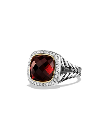 David Yurman Albion Ring with Garnet and Diamonds