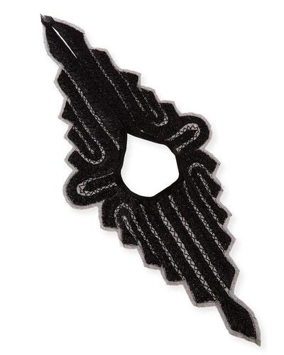 Embellished Silk Chessoire Neckpiece, Black