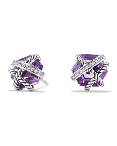 Cable Wrap Earrings with Amethyst and Diamonds