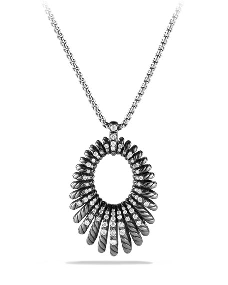 David Yurman 34mm Tempo Pave Diamond Pendant Necklace