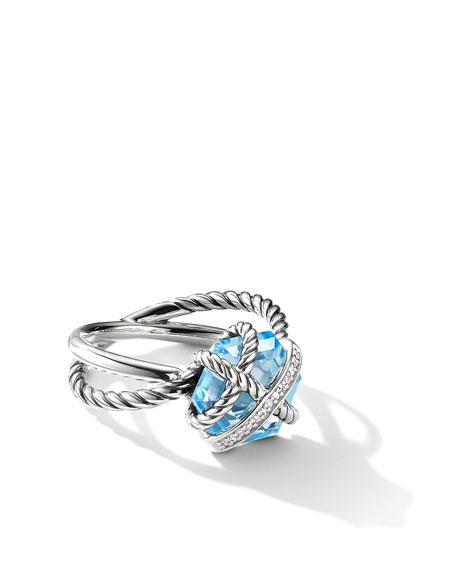 David Yurman Cable Wrap Ring with Semiprecious Stone and Diamonds