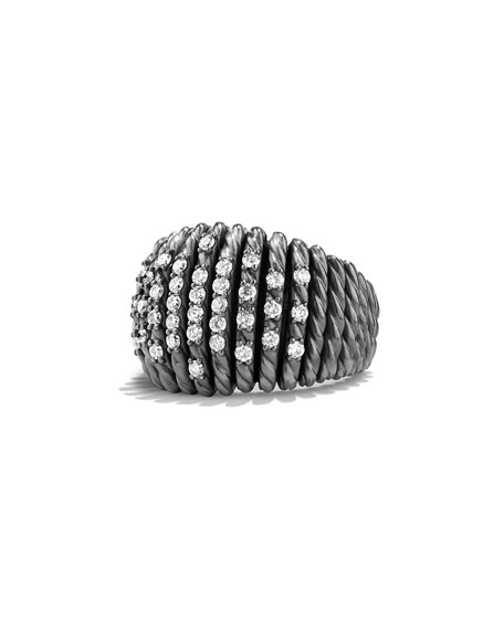 David Yurman 18mm Tempo Pavé White Diamond Ring