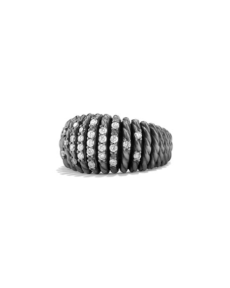 David Yurman 13mm Tempo Pavé White Diamond Ring