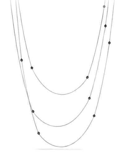 "Bead Necklace with Black Diamonds, 72"""