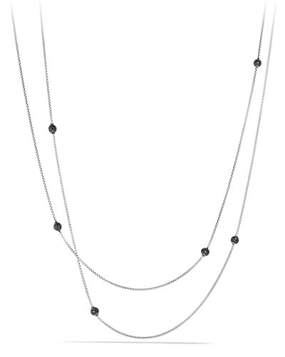 "Bead Necklace with Black Diamonds, 36"""