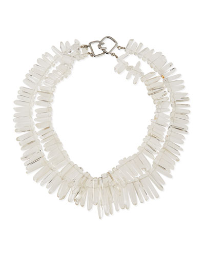 Double-Row Crystal Stick Necklace