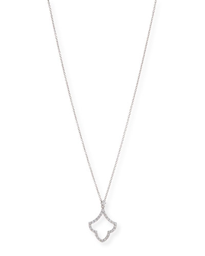 18k White Gold Art Deco Diamond Pendant Necklace