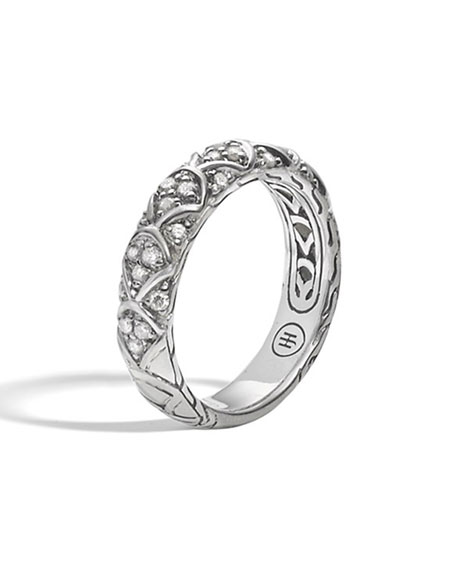 John Hardy Naga Silver Diamond Slim Band Ring