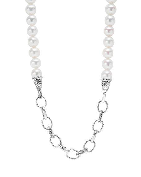 """LAGOS Luna Pearl & Caviar Link Necklace, 34"""""""