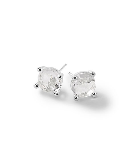 Silver Rock Candy Mini Stud Earrings in Clear Quartz