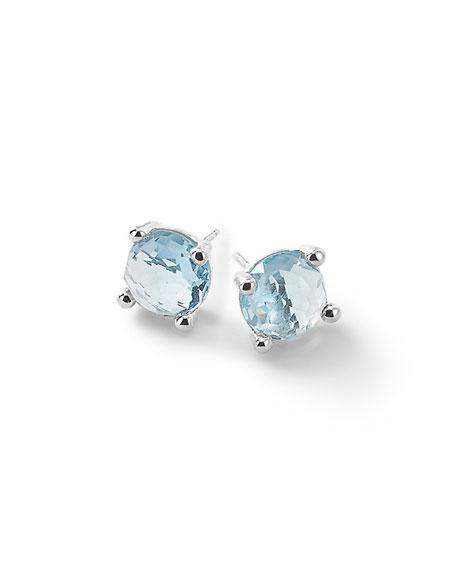 Silver Rock Candy Mini Stud Earrings in Blue Topaz