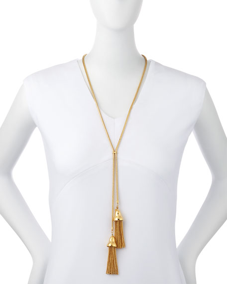 Gold-Plated Long Tulip Tassel Necklace