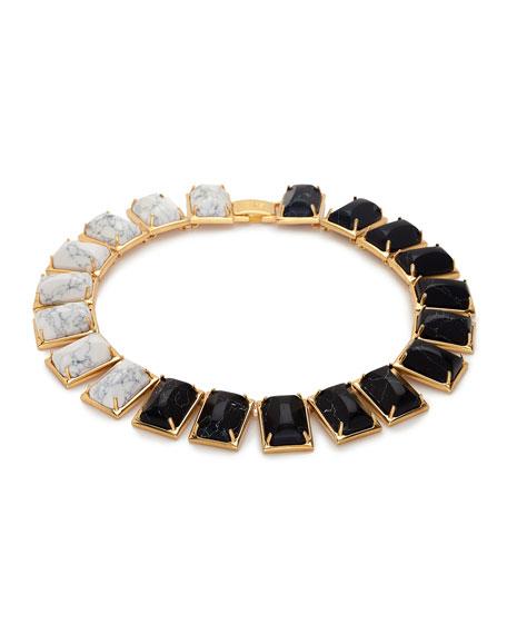 Gardenia Two-Tone Link Necklace, Black/White