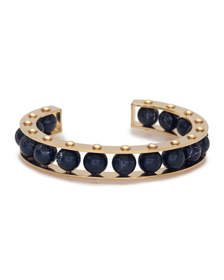 Riveted Gold-Plated Slider Cuff Bracelet