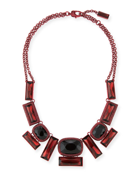 St. John Collection Metallic Clad Necklace, Malbec/Jet Set