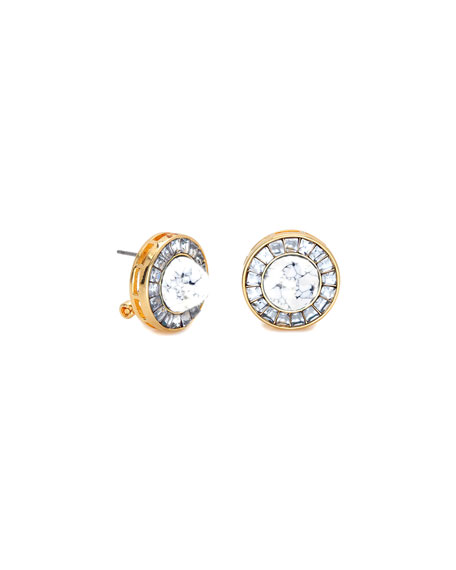 Token Crystal Stud Button Earrings