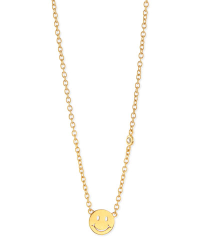 Happy Face Bezel Diamond Necklace